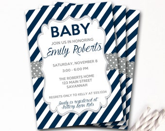 Navy And Gray Baby Shower Invitation, Navy And Gray Shower Invitation, Navy And Gray Invite, Boy Baby Shower, DIY Printable