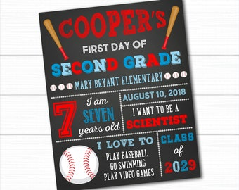 Baseball First Day Of School Sign, Back To School Sign, First Day Of School Chalkboard, 1st Day Of School Sign, Boy First Day of School Sign