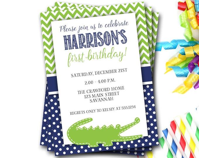 Alligator Birthday Invitation, Alligator Invite, Gator Birthday Invitation, Navy And Green, Preppy Invitation, Boy Birthday, First Birthday