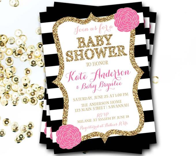 Pink Black And Gold Baby Shower Invitation, Pink Floral Baby Shower, Pink And Gold Baby Shower Invitation, Gold Glitter Baby Shower