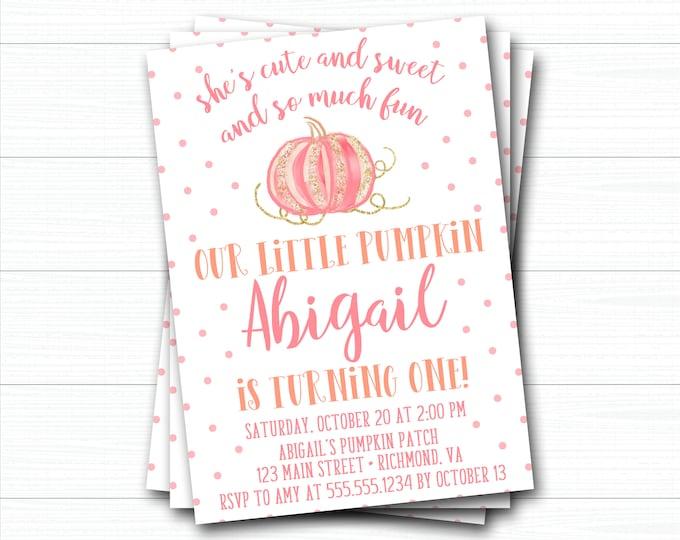 Pumpkin Birthday Invitation, Pumpkin First Birthday Invitation, Fall Birthday, Girl Pumpkin Invitation, Watercolor Pumpkin, Gold Pumpkin