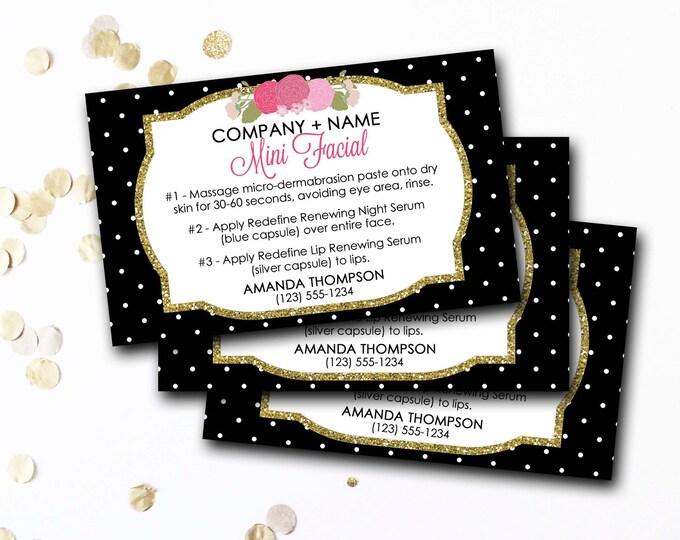 Mini Facial Card, Customized Mini Facial Card, Personalized Mini Facial Card, Pink Black And Gold Mini Facial Card, DIY Printable