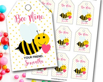 Bee Valentine's Day Tag, Bee Valentine's Tag, Bee Mine, Personalized Valentine's Tag, Party Favor Tags, DIY Printable