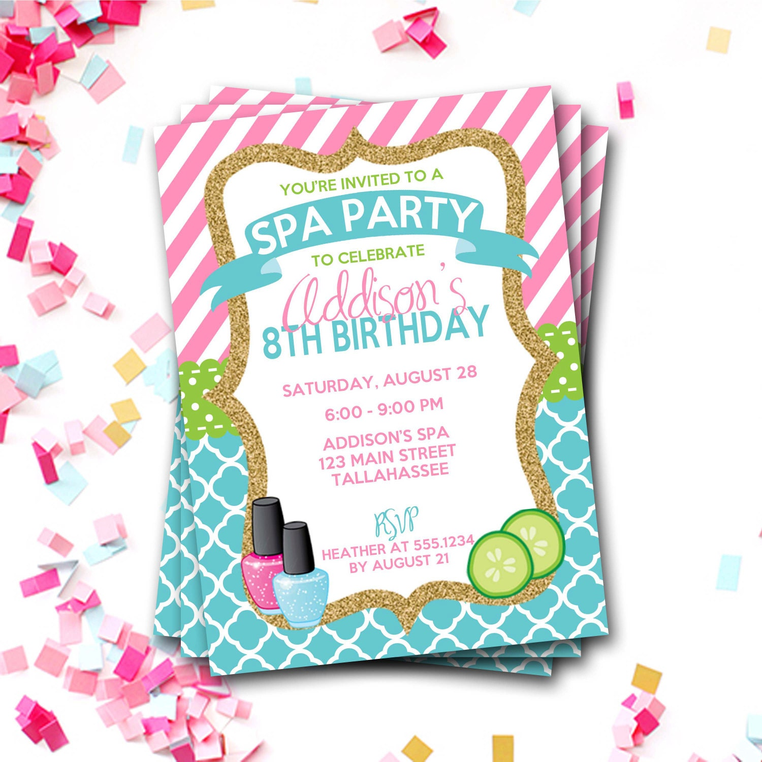 Spa Birthday Invitation, Spa Party Invitation, Sleepover Birthday ...