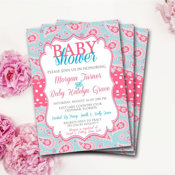Pink and blue baby shower invitation paisley baby shower etsy image 0 filmwisefo
