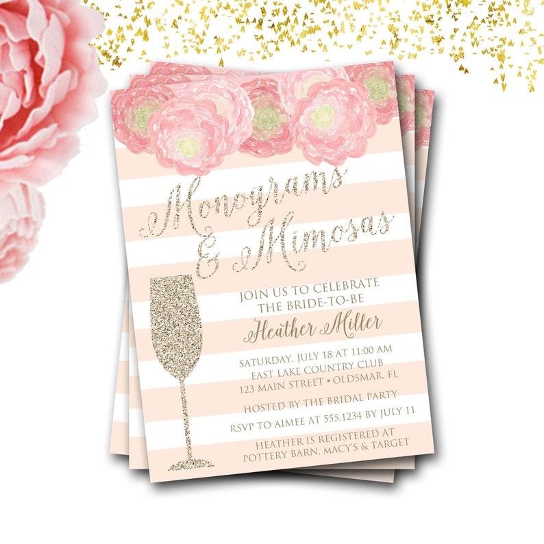 90da46b2c913 Monograms And Mimosas Bridal Shower Invitation Monograms And