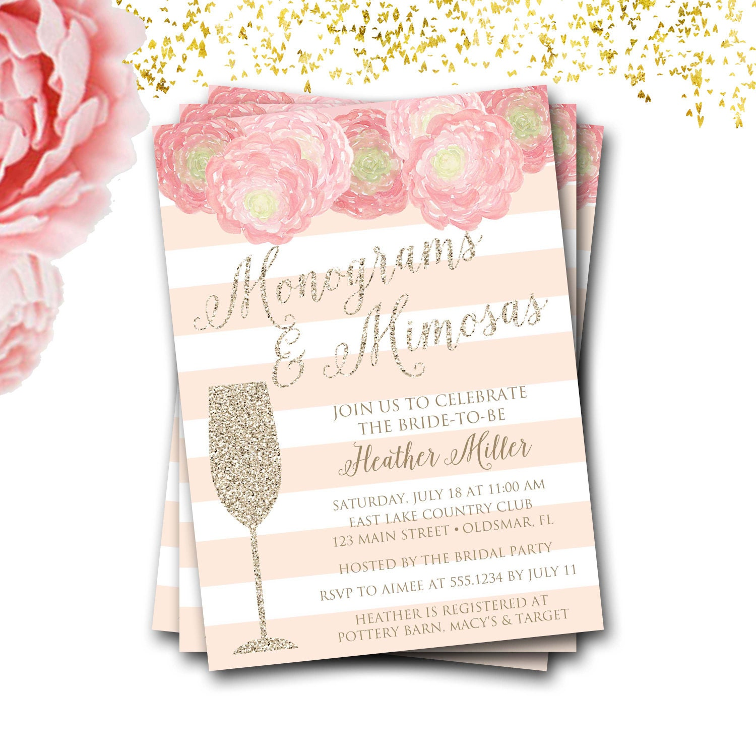 d8b4944c9b0b Monograms And Mimosas Bridal Shower Invitation Monograms And