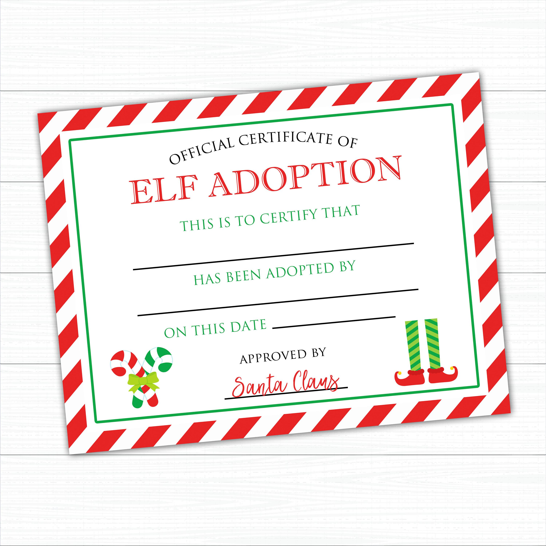 Elf Adoption Certificate Instant Download Elf Adoption Etsy