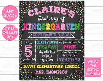 First Day Of School Sign, Girl First Day of School Sign, Back To School Sign, Chalkboard School Sign, 1st Day Of School Sign