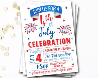 4th of July Invitation, Fourth of July Invitation, 4th of July Party, Patriotic Party, Fourth of July Party, Fireworks Invitation, 4th Party