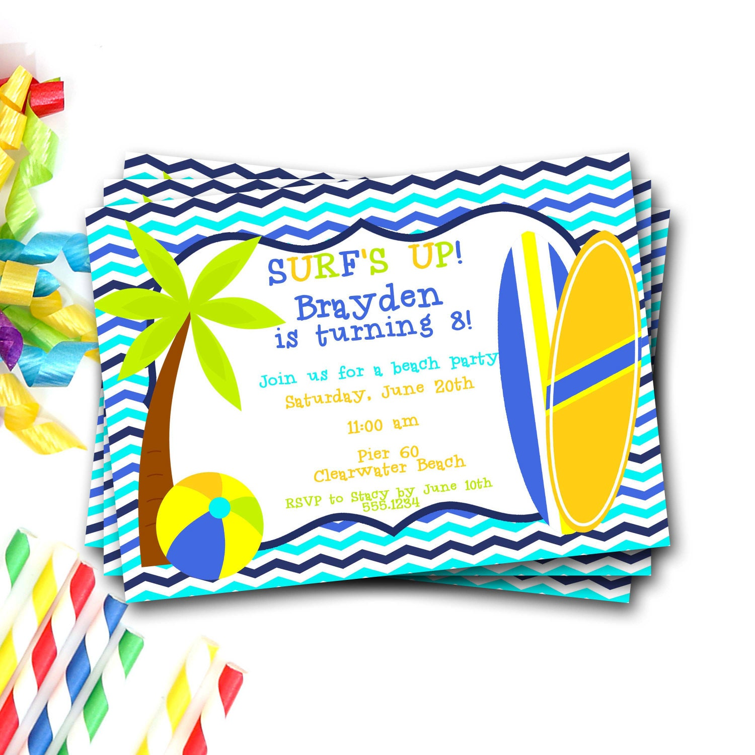 beach party invitation beach invite beach birthday party pool