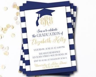 Monogram Graduation Invitation, Navy Graduation Invitation, Navy and Gold Graduation, Monogram Invitation, Monogram Graduation Announcement