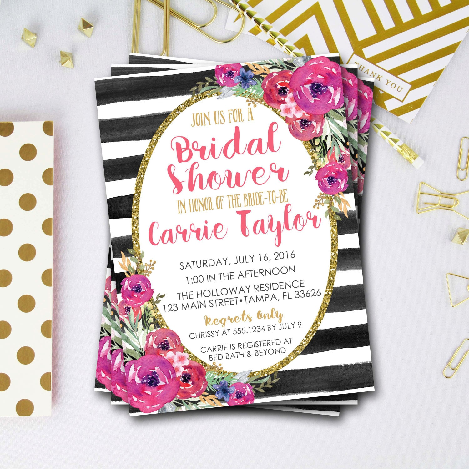 Flower bridal shower invitation pink and gold bridal shower flower bridal shower invitation pink and gold bridal shower invitation glitter bridal shower invitation glitter invite diy printable filmwisefo