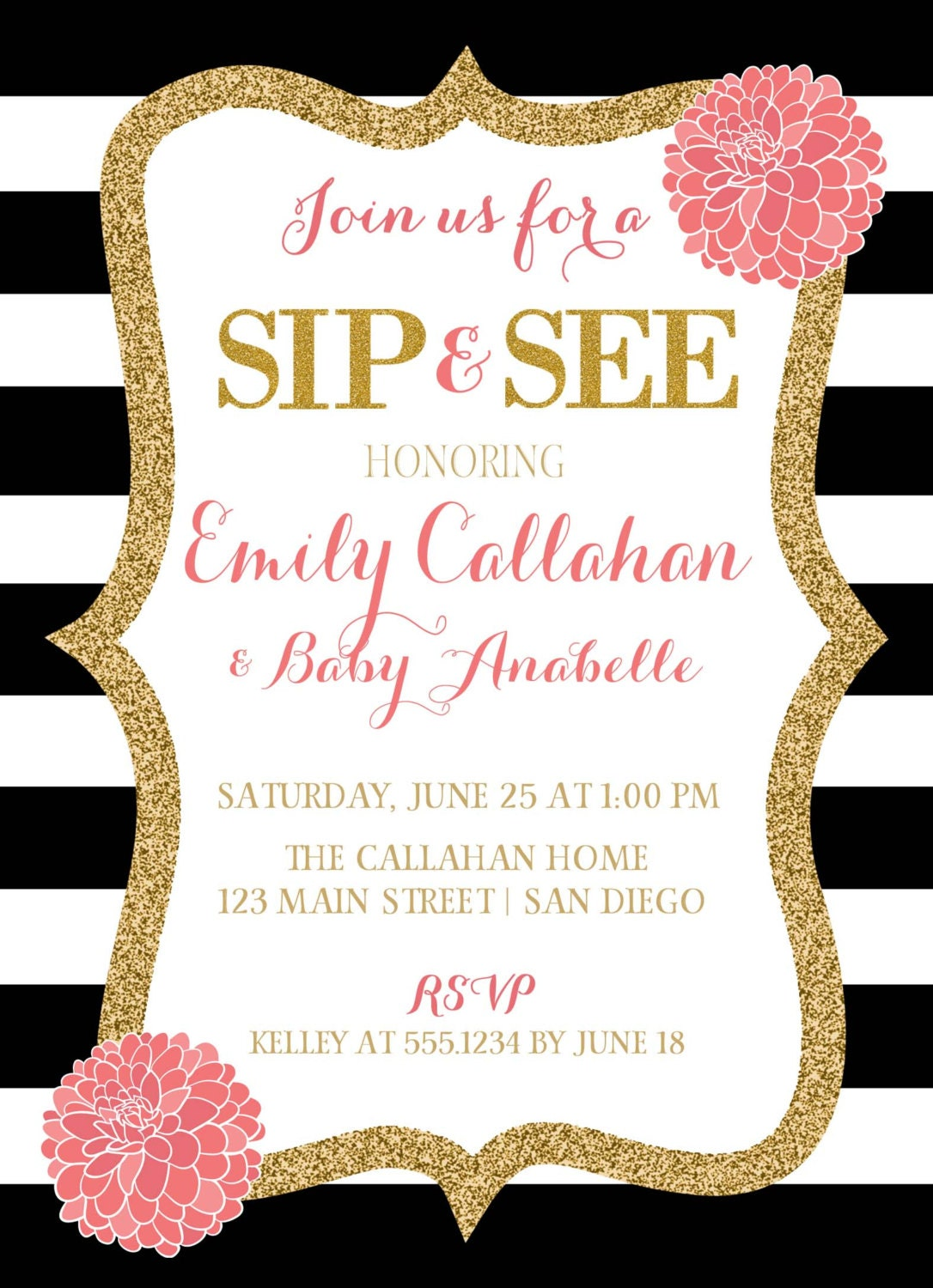Sip And See Invitation Pink Black And White Baby Shower Invitation