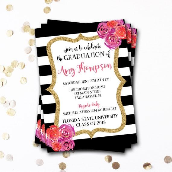 floral graduation invitation floral graduation announcement etsy