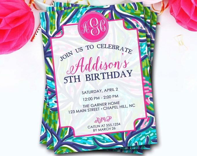 Floral Monogram Birthday Invitation, Monogram Invitation, Lilly Birthday Invitation, Girl Birthday Invitation, Monogram Invite