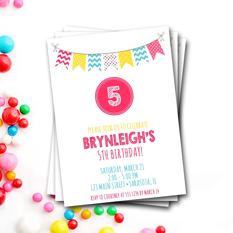Bunting Birthday Invitation, Colorful Birthday Invitation, Banner ...
