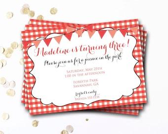 Red Picnic Invitation, Picnic Invitation, Picnic Invite, Picnic Birthday Party, Red Gingham Invitation, DIY Printable