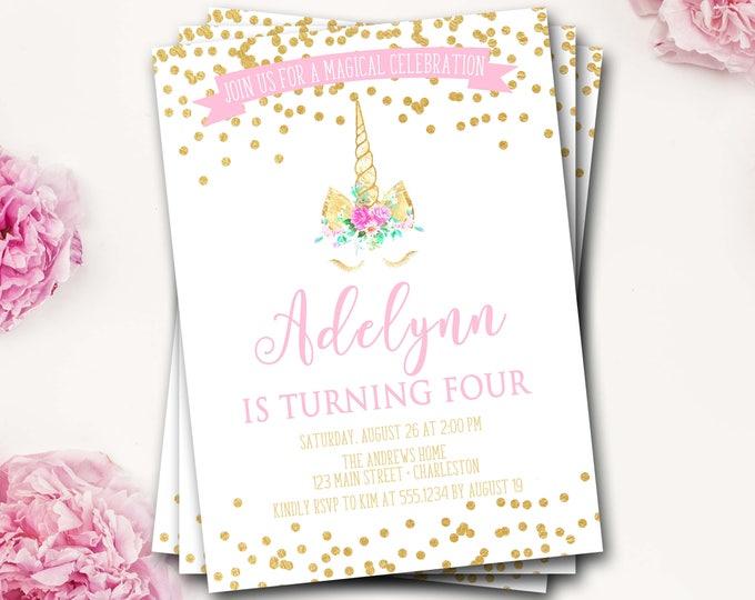 Unicorn Birthday Invitation, Unicorn Invitation, Unicorn Party, Magical Birthday Invitation, Pink and Gold Glitter, Unicorn Party