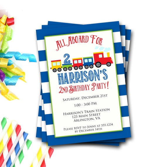 Train Birthday Invitation Party Invite Boy