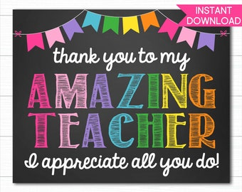 Teacher Appreciation Sign, Virtual Teacher Appreciation, Personalized Teacher Appreciation Sign, Teacher Appreciation Week, Instant Download
