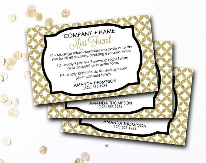 Mini Facial Card, Customized Mini Facial Card, Personalized Mini Facial Card, Gold Glitter Mini Facial Card, DIY Printable