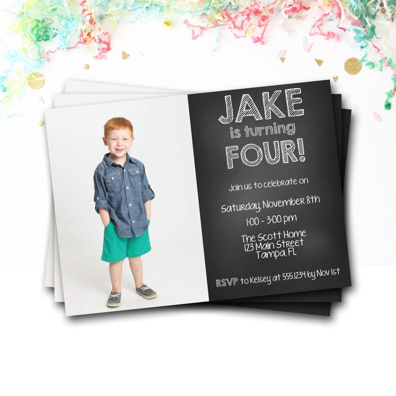 Chalkboard Birthday Invitation, Photo Invitation, Chalkboard ...