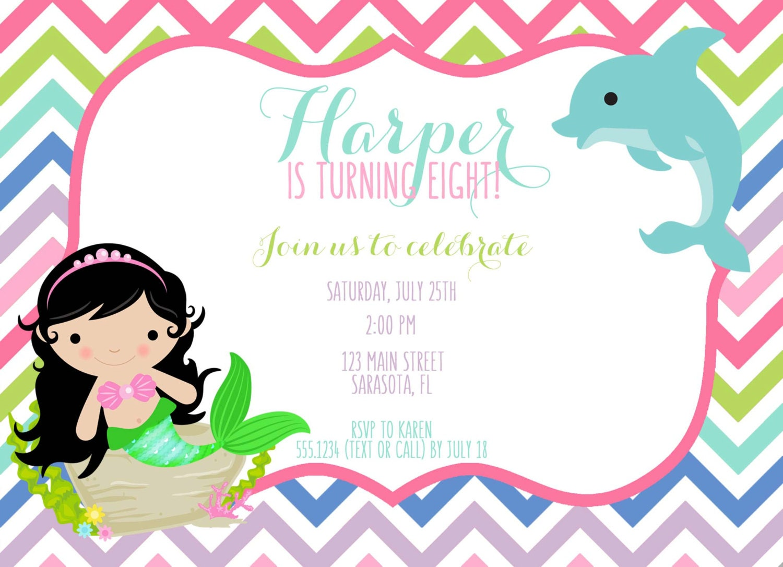 Mermaid Birthday Invitation, Mermaid Invitation, Dolphin Invitation ...