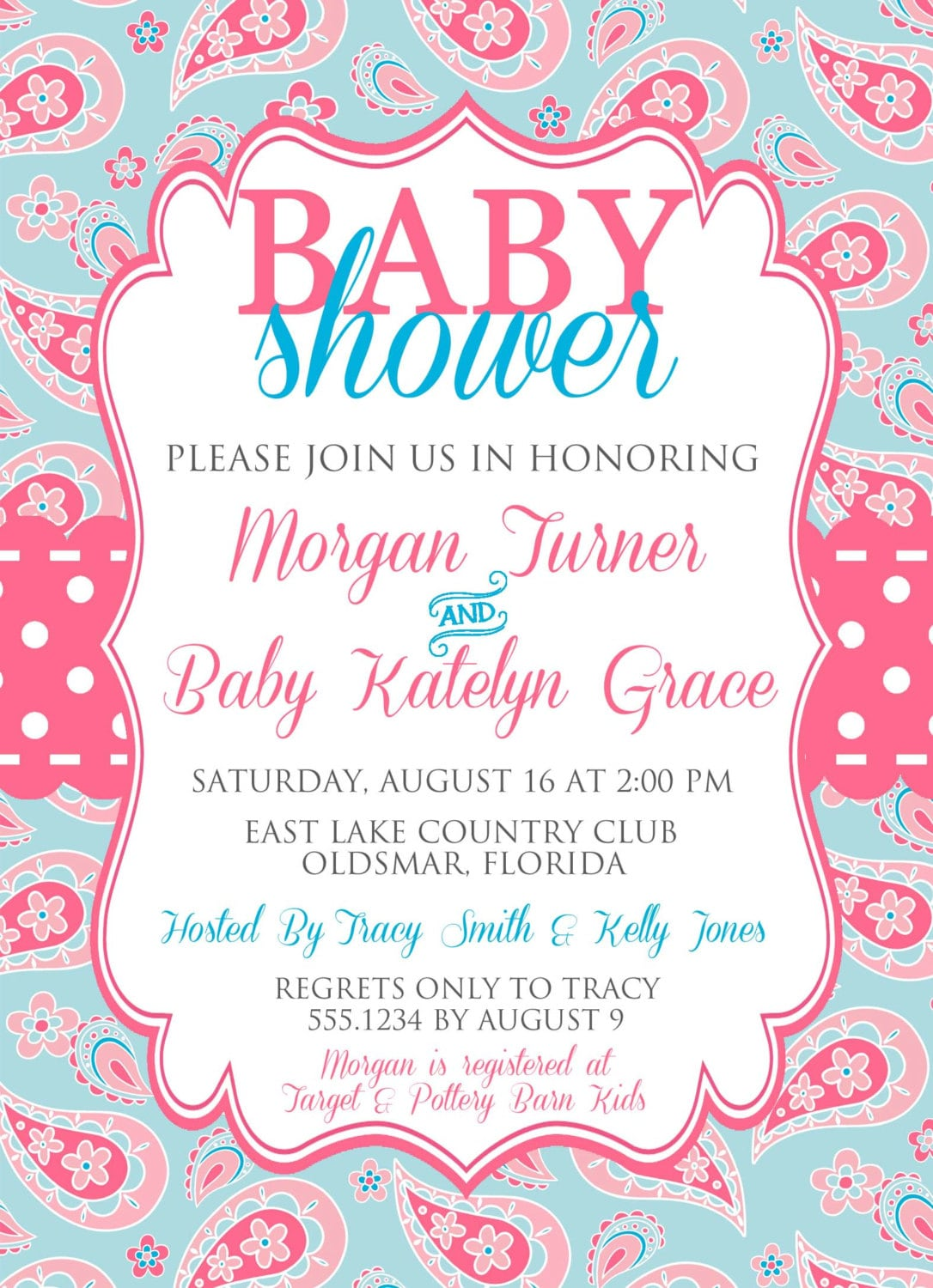 Pink and blue baby shower invitation paisley baby shower invitation gallery photo gallery photo filmwisefo