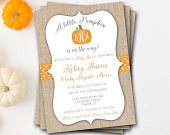 Pumpkin Baby Shower Invitation, Fall Baby Shower Invitation, Pumpkin Shower Invitation, Halloween Baby Shower, Monogram Baby Shower