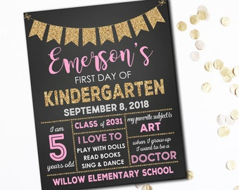 First Day Of School Sign, Pink And Gold First Day Of School Sign, First Day Of School Chalkboard, 1st Day Of School Sign, Photo Prop