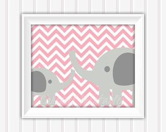Elephant Wall Art, Pink and Gray Art, Printable Wall Art, Instant Download,Childrens Wall Art, Kids Wall Art, Nursery Wall Art, DIY Wall Art