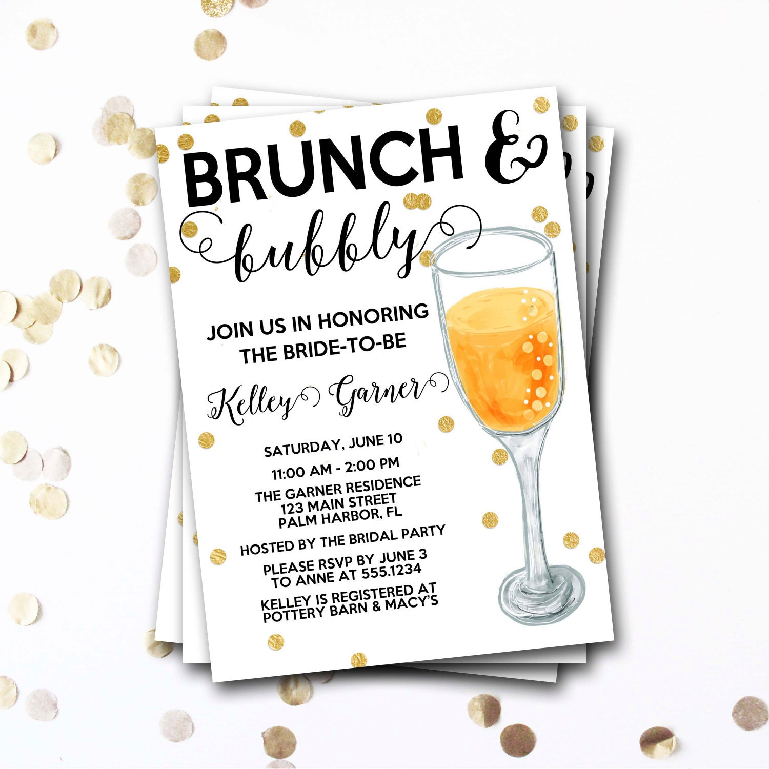 Brunch And Bubbly Bridal Shower Invitation, Brunch And Bubbly ...