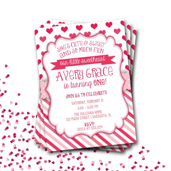 Heart Birthday Invitation, Valentines Birthday Invitation, Hearts Birthday Invite, Valentine Birthday, Our Little Sweetheart