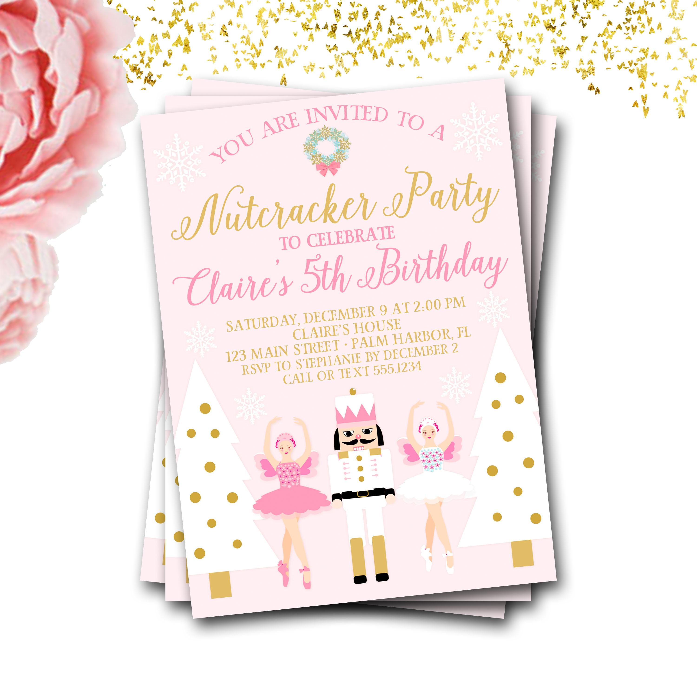 Nutcracker Birthday Invitation, Nutcracker Invite, Ballet Birthday ...