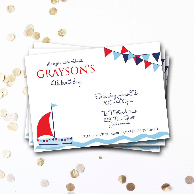 Nautical Birthday Invitation, Sailboat Birthday Invitation, Nautical ...