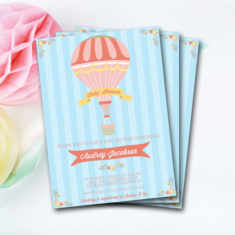 Hot Air Balloon Baby Shower Invitation, Hot Air Balloon Invitation ...