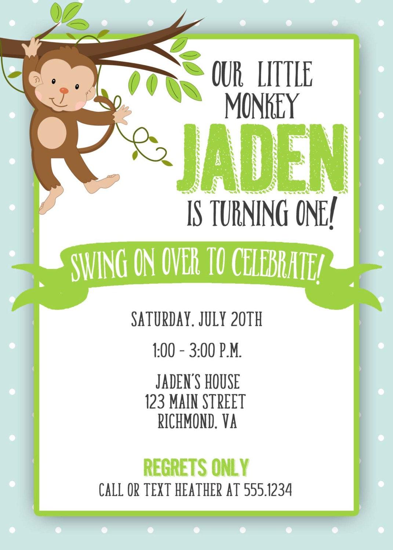 Monkey Birthday Invitation, Swinging Monkey, Monkey Invitation ...