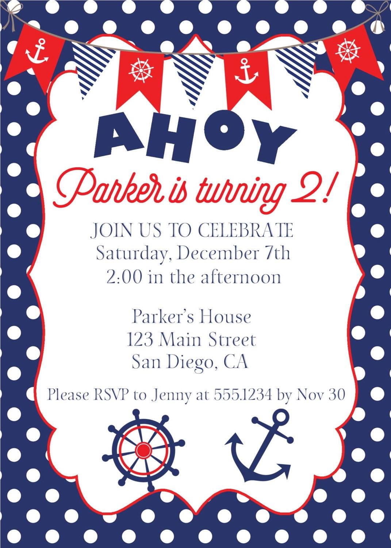 Nautical Birthday Invitation, Nautical Invite, Anchor Invitation ...