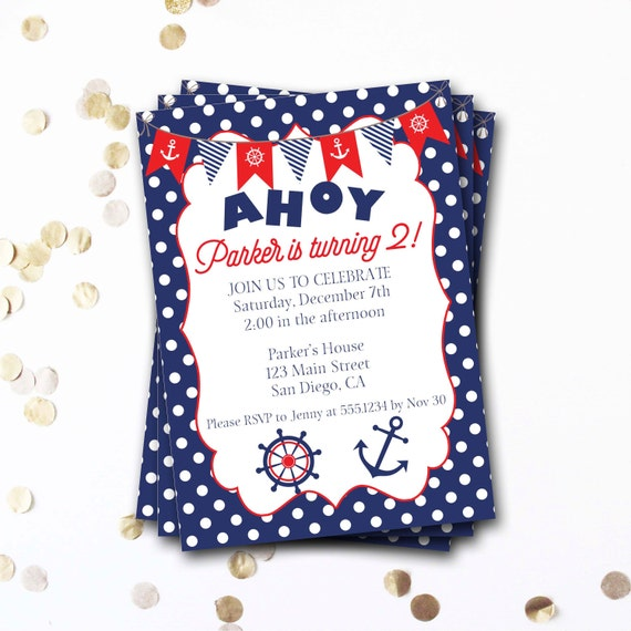 Nautical Birthday Invitation Invite Anchor