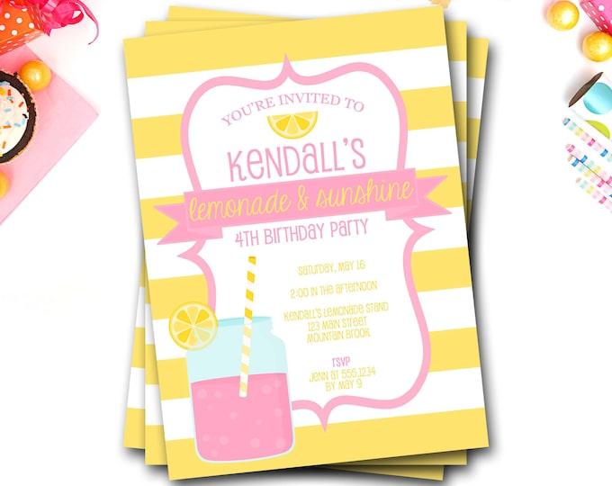 Pink Lemonade Birthday Invitation, Pink Lemonade Invitation, Summer Birthday Invitation, Lemonade Invite, Sunshine and Lemonade