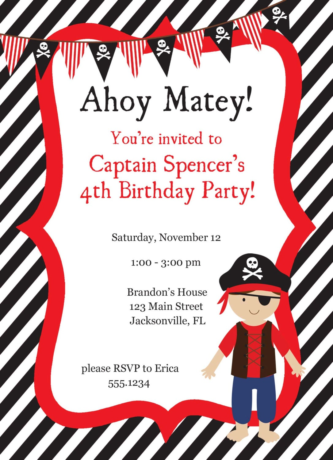 Pirate Birthday Invitation, Pirate Party, Pirate Invitation, Pirate ...
