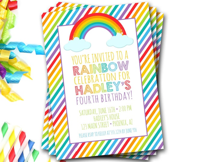 Rainbow Birthday Invitation, Rainbow Birthday Party, Rainbow Party, Rainbow Invite, Summer Birthday, Girl Birthday, First Birthday