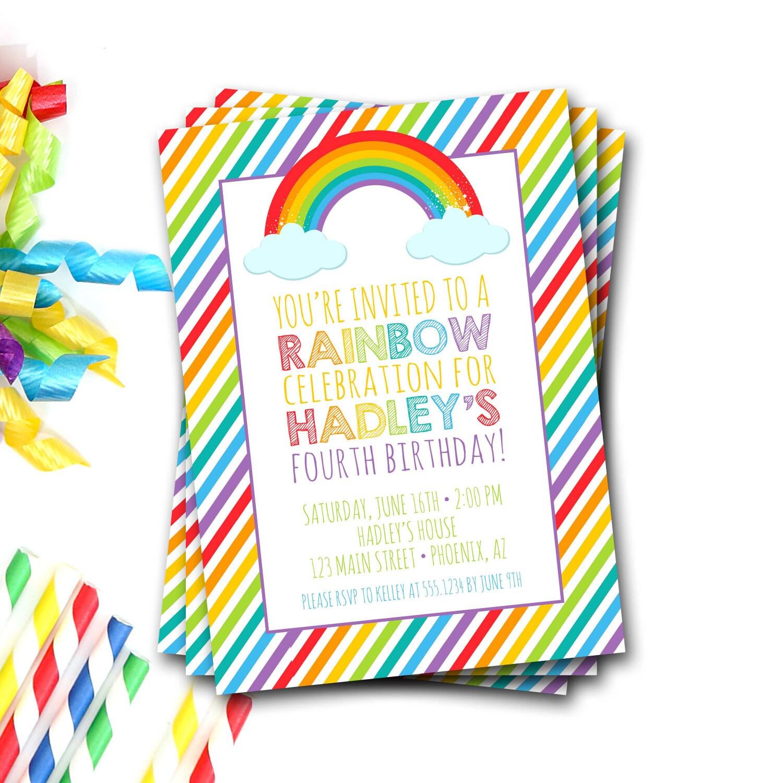 Rainbow Birthday Invitation, Rainbow Birthday Party, Rainbow Party ...