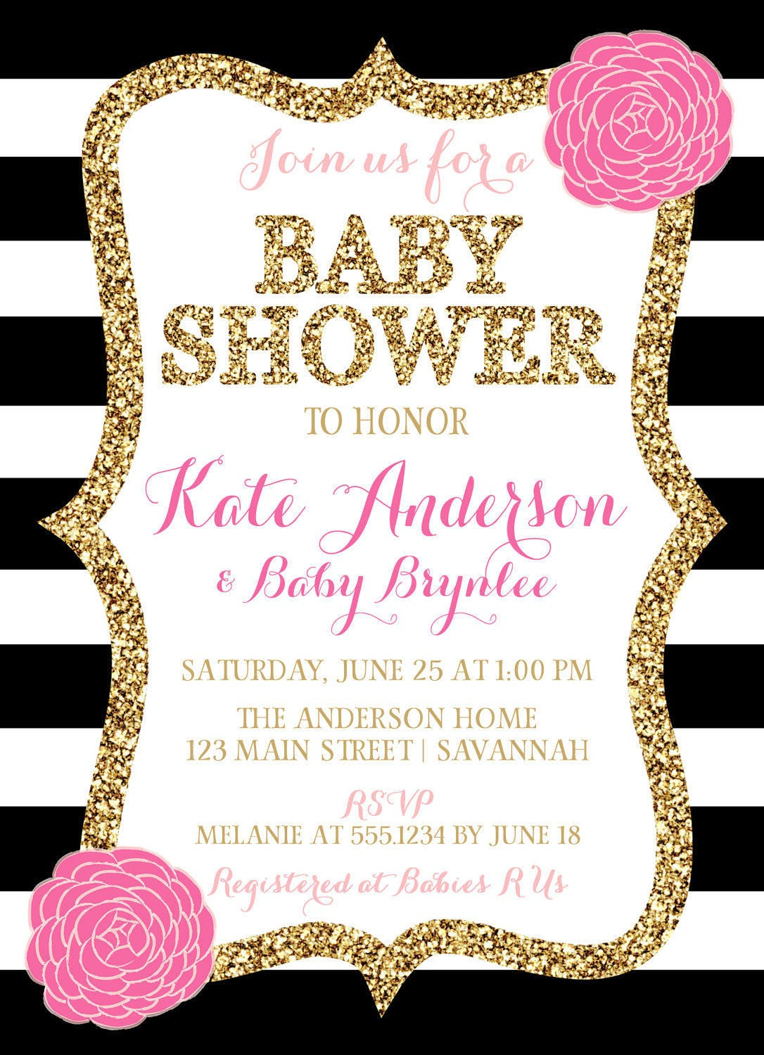 Image Of Baby Shower Pink And Black Pink and black baby shower ideas ...