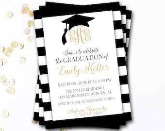 Monogram Graduation Invitation, Monogram Graduation Announcement, Black and Gold Graduation Invitation, Grad Announcement, Grad Party