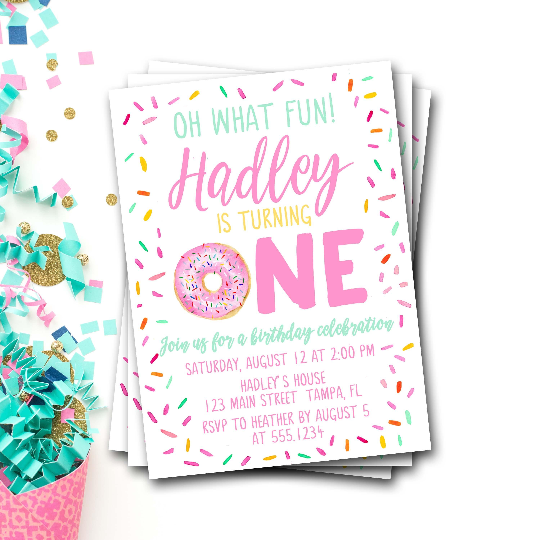 Donut Birthday Invitation, Donut First Birthday, Doughnut Birthday ...