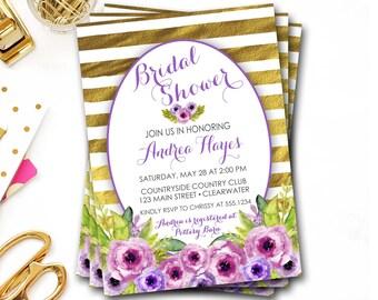 Purple Floral Bridal Shower Invitation, Purple And Gold Bridal Shower, Gold Bridal Shower Invitation, Purple Bridal Shower, DIY Printable