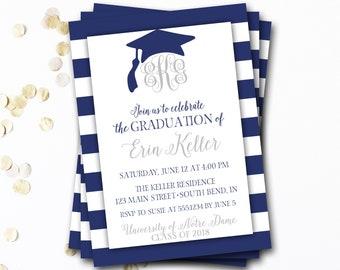 Monogram Graduation Invitation, Navy Graduation Invitation, Navy and Silver Graduation, Graduation Cap, Monogram Invitation