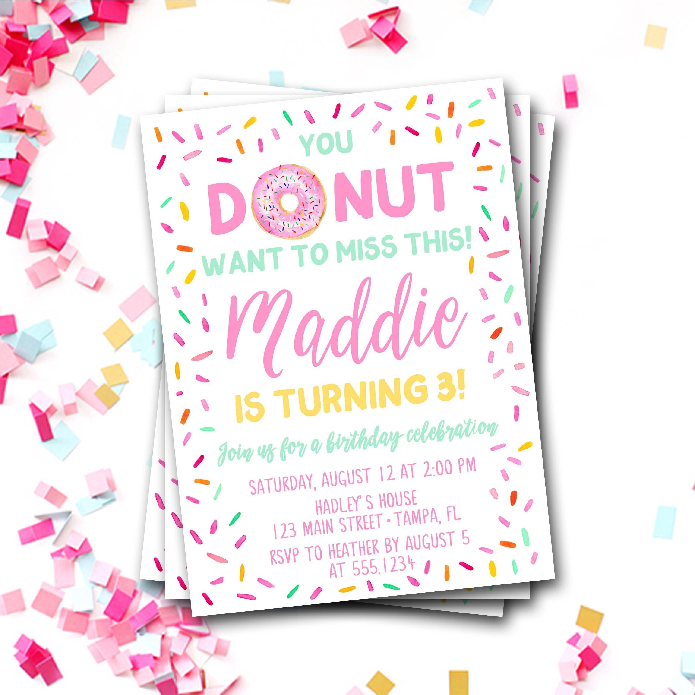 Donut Birthday Invitation, Donut First Birthday, Donut Invitation ...